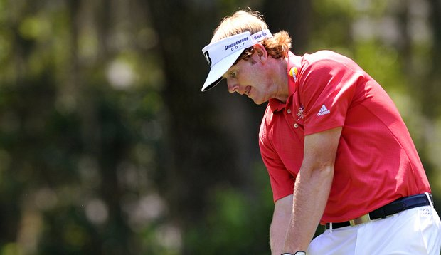 Brandt Snedeker tees off the seventh hole during the final round of The Heritage golf tournament in Hilton Head Island, S.C.