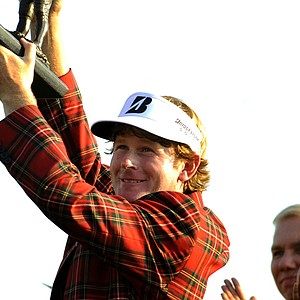 Brandt Snedeker lifts the trophy after winning the 2011 Heritage. The Heritage, at Hilton Head Island, S.C., has a new sponsor in 2011, RBC.