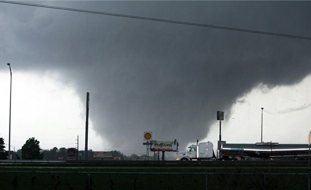 A tornado rips through Tuscaloosa, Ala., on April 27.