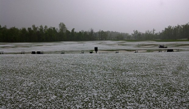Hail on the ground at Blessings Golf Club in Fayetteville, Ark.