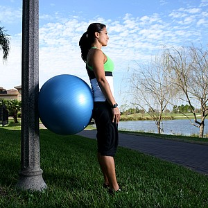 """QUADS: Stability equals more consistency  This exercise might elicit flashbacks to that torturous ghost chair in sixth-grade gym class, but it will build lower-body strength. """"The stronger women are in their quads, the more stable they'll be in their golf swing,"""" Doddato said. Place the stability ball in the middle of your lower back and stand against a wall, with knees slightly bent. Drop down so that your knees form a 90-degree angle. Your feet should be far enough forward so that your knees don't go over your toes during the exercise. Complete two sets of 20 reps.  Make it harder: Balance on one leg."""