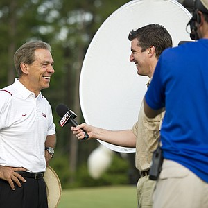 Alabama head coach Nick Saban at the Chick-fil-A Bowl Challenge in Greensboro, Ga.