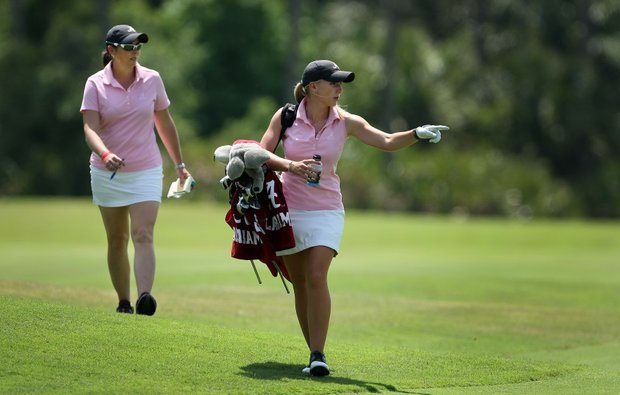 Alabama's Brooke Pancake at the Women's NCAA East Regionals. Alabama is in second place after Round 1. Pancake shot an even-par 72.