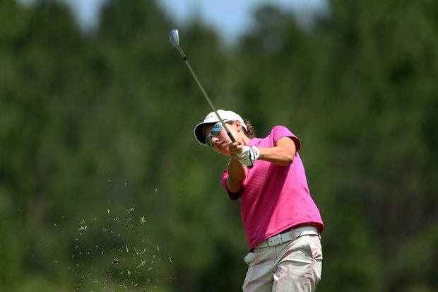 Carlota Ciganda hits a shot at No. 1. Ciganda posted a 73 for the first round.