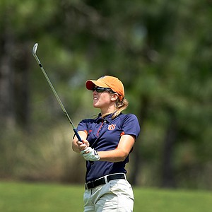 Cydney Clanton of Auburn during the Women's NCAA East Regionals. Clanton posted an opening round of 77 after carding a quadruple bogey at No. 18.