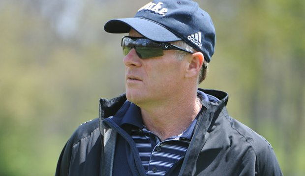 Duke women's golf coach Dan Brooks during Round 2 of the Central Regional.