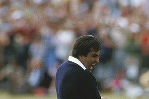 Seve Ballesteros celebrates winning the 1984 British Open at St. Andrews.