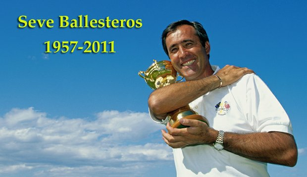 Captain Seve Ballesteros smiles with the Ryder Cup after his team beat the USA at the Valderrama Golf Club in Sotogrande, Spain, in September 1997.
