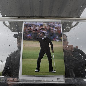 A picture of Seve Ballesteros reading 'Always Seve' is hung on the glass of a buggy during the third round of the Spanish Open.