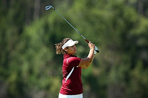 Florida State's Jessica negron hits her second shot at No. 9. Negron shot a three-day total 216.