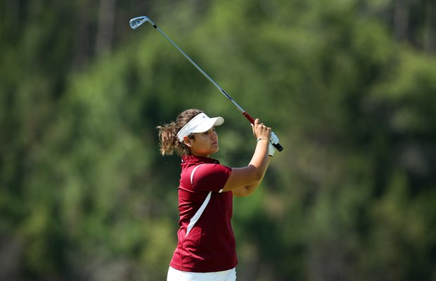 Florida State's Jessica Negron hits her second shot at No. 9. Negron shot a three-day total of 216 for the tournament.