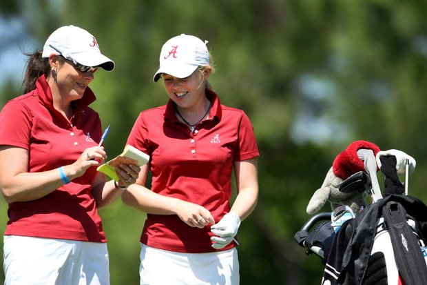 University of Alabama's assistant, Susan Rosenstiel with individual medalist Stephanie Meadow during the Women's NCAA East Regionals.