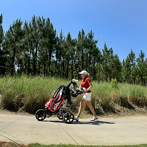 Alabama's Stephanie Meadow makes her way to No. 7 green during the Women's NCAA East Regionals.