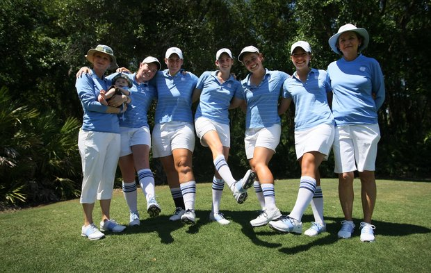 University of North Carolina, with their tube socks, placed second behind Alabama during the Women's NCAA East Regionals.
