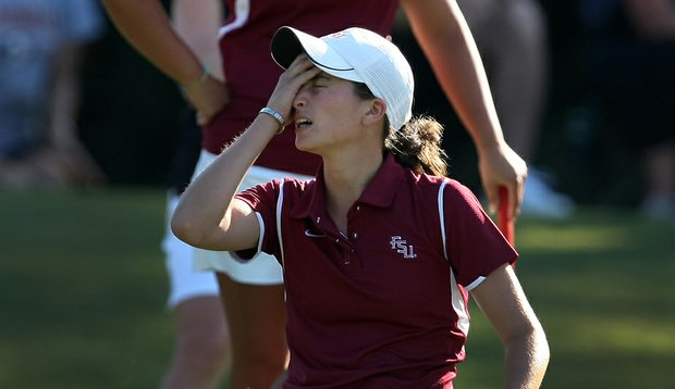 Florida State's Macarena Silva reacts to missing her putt in a team playoff during the Women's NCAA East Regionals at LPGA International in Daytona Beach, Fla.