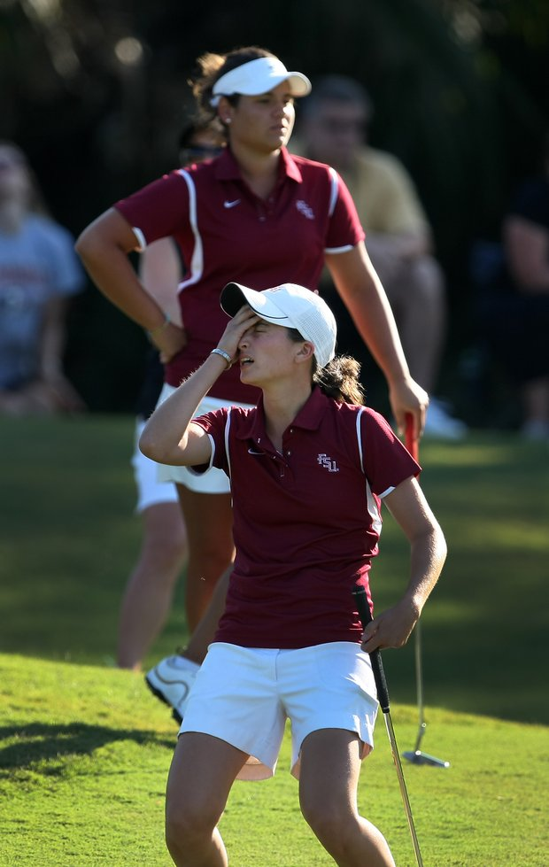 Florida State University's Macarena Silva reacts to missing her putt in a team playoff. Vanderbilt advanced.