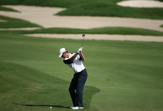 Mike Weir of Canada plays his second shot on the fifth hole during the second round of THE PLAYERS Championship on THE PLAYERS Stadium Course at TPC Sawgrass on May 9, 2008 in Ponte Vedra Beach, Florida.