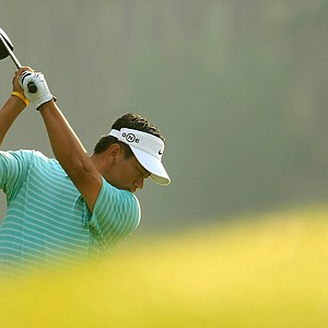 K.J. Choi of South Korea plays his tee shot on the 10th hole during the second round of the THE PLAYERS Championship on THE PLAYERS Stadium Course at TPC Sawgrass on May 9, 2008 in Ponte Vedra Beach, Florida.