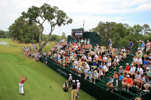 Ian Poulter of England plays his tee shot on the 1st hole during the third round of THE PLAYERS Championship on THE PLAYERS Stadium Course at TPC Sawgrass on May 10, 2008 in Ponte Vedra Beach, Florida.