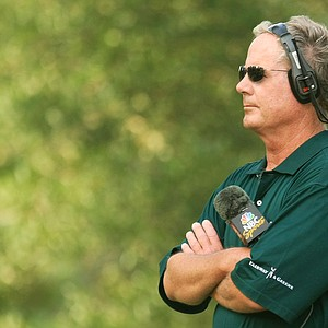 Mark Rolfing, NBC Sports Commentator, watches play during the final round of THE PLAYERS Championship on THE PLAYERS Stadium Course at TPC Sawgrass on May 11, 2008 in Ponte Vedra Beach, Florida.
