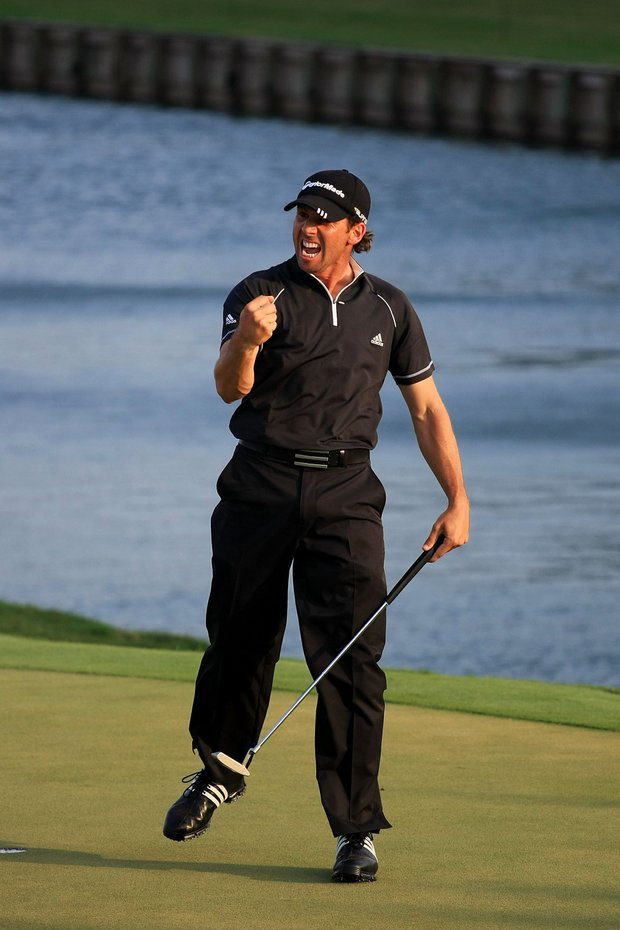 Sergio Garcia of Spain reacts to his made par putt on the green of the 18th hole during the final round of THE PLAYERS Championship on THE PLAYERS Stadium Course at TPC Sawgrass on May 11, 2008 in Ponte Vedra Beach, Florida.