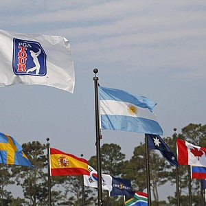Flags representing the various nations represented in the tournament during the first round of THE PLAYERS Championship on THE PLAYERS Stadium Course at TPC Sawgrass held on May 8, 2008 in Ponte Vedra Beach, Florida.