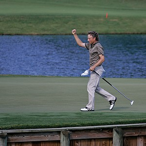 Bernhard Langer celebrates his birdie putt on #17 during the second round of THE PLAYERS Championship on THE PLAYERS Stadium Course at TPC Sawgrass held on May 9, 2008 in Ponte Vedra Beach, Florida.