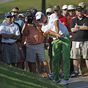 Henrik Stenson of Sweden hits from a cart path on #14 during the second round of THE PLAYERS Championship on THE PLAYERS Stadium Course at TPC Sawgrass held on May 9, 2008 in Ponte Vedra Beach, Florida.