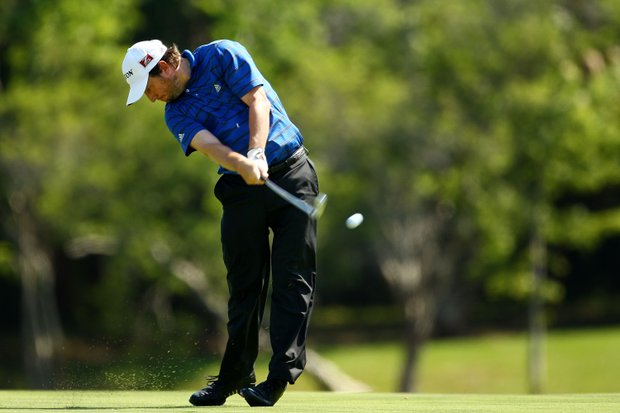 Tim Clark of South Africa plays his second shot on the 14th hole during the second round of THE PLAYERS Championship on THE PLAYERS Stadium Course at TPC Sawgrass on May 8, 2009 in Ponte Vedra Beach, Florida.