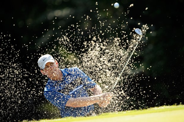 Justin Leonard plays a bunker shot during the first round of THE PLAYERS Championship on THE PLAYERS Stadium Course at TPC Sawgrass on May 7, 2009 in Ponte Vedra Beach, Florida.