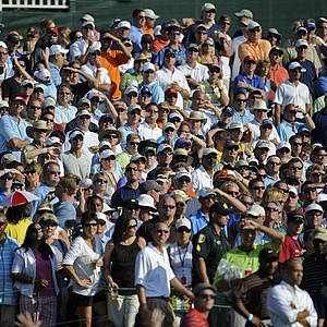 Spectators watch the action at the 18th tee during the second round of THE PLAYERS Championship on THE PLAYERS Stadium Course at TPC Sawgrass held on May 8, 2009 in Ponte Vedra Beach, Florida.