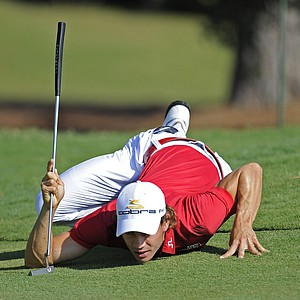 Camilo Villegas of Colombia lines up a putt on the fourth green during the second round of THE PLAYERS Championship on THE PLAYERS Stadium Course at TPC Sawgrass held on May 8, 2009 in Ponte Vedra Beach, Florida.