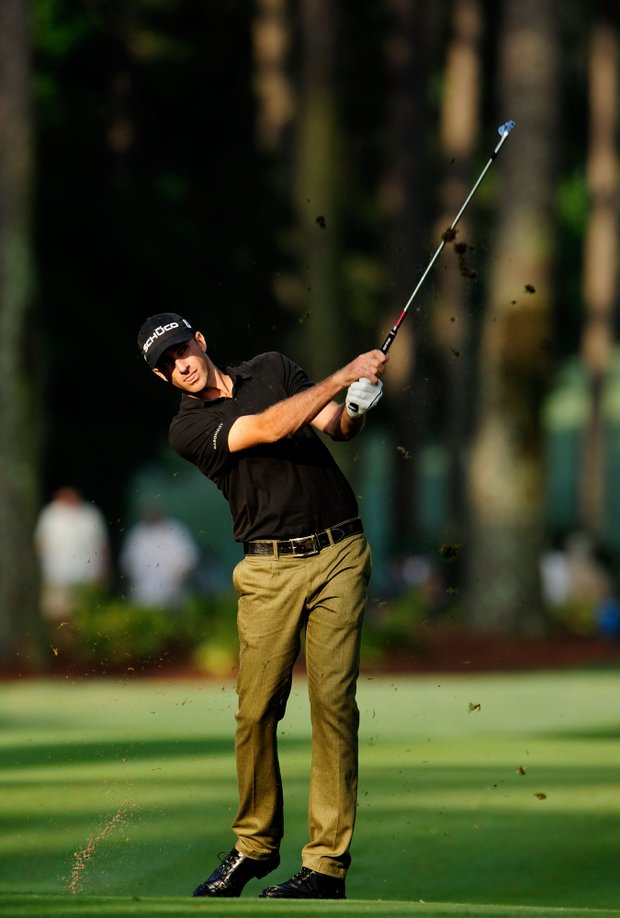 Geoff Ogilvy of Australia hits a fairway shot on the tenth hole during the second round of THE PLAYERS Championship held at THE PLAYERS Stadium course at TPC Sawgrass on May 7, 2010 in Ponte Vedra Beach, Florida.
