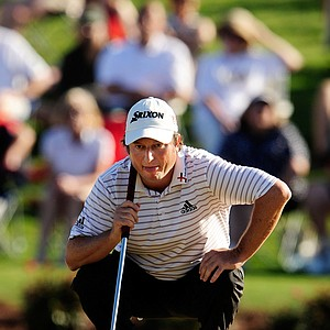 Tim Clark of South Africa lines up a putt during the final round of THE PLAYERS Championship held at THE PLAYERS Stadium course at TPC Sawgrass on May 9, 2010 in Ponte Vedra Beach, Florida.