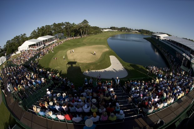 Tim Clark of South Africa saves par on the 18th hole during the final round of THE PLAYERS Championship on THE PLAYERS Stadium Course at TPC Sawgrass on May 9, 2010 in Ponte Vedra Beach, Florida.