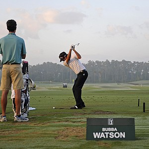 Bubba Watson warms up on the practice area prior to the second round of THE PLAYERS Championship on THE PLAYERS Stadium Course at TPC Sawgrass on May 7, 2010 in Ponte Vedra Beach, Florida.