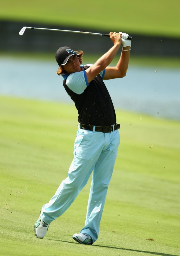 Rickie Fowler hits a fairway shot on the 18th hole during the second round of THE PLAYERS Championship held at THE PLAYERS Stadium course at TPC Sawgrass on May 7, 2010 in Ponte Vedra Beach, Florida.