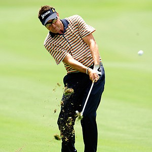 Robert Allenby of Australia plays a shot on the 18th fairway during the second round of THE PLAYERS Championship held at THE PLAYERS Stadium course at TPC Sawgrass on May 7, 2010 in Ponte Vedra Beach, Florida.