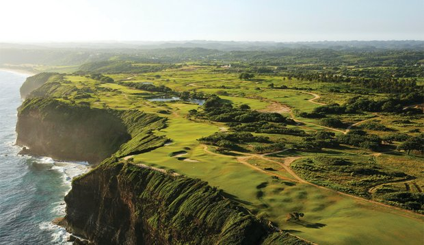 At Royal Isabela, there is drama in the cliffs, such as here at the 14th hole.