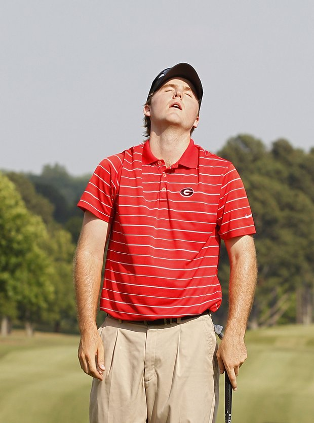 Russell Henley reacts on the 18th green after winning the Stadion Classic at UGA held at the University of Georgia Golf Course on May 8, 2011 in Athens, Georgia.