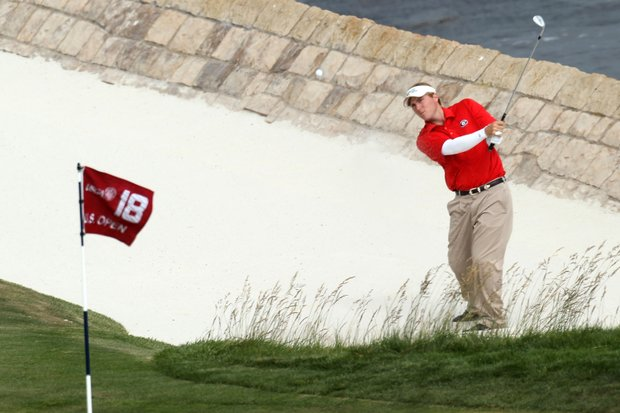 Amateur Russell Henley plays a bunker shot on the 18th hole during the final round of the 110th U.S. Open at Pebble Beach Golf Links on June 20, 2010 in Pebble Beach, California.