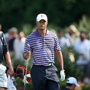 Tiger Woods with his caddie Steve Williams during a practice round on Tuesday at The Players Championship at TPC Sawgrass.