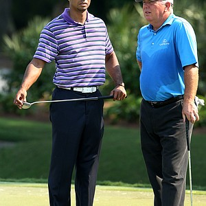 Tiger Woods with Mark O'Meara during Tuesday's practice round of The Players Championship at TPC Sawgrass.