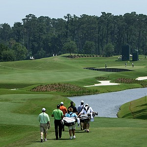 Henrik Stenson and Graeme McDowell head down the fourth fairway during Tuesday's practice round at The Players Championship at TPC Sawgrass.
