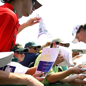 Phil Mickelson signs autographs after his practice round on Tuesday during The Players Championship at TPC Sawgrass.