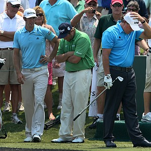 Phil Mickelson reacts to hitting his tee shot into the water at No. 17 during a Tuesday practice round at The Players Championship at TPC Sawgrass.