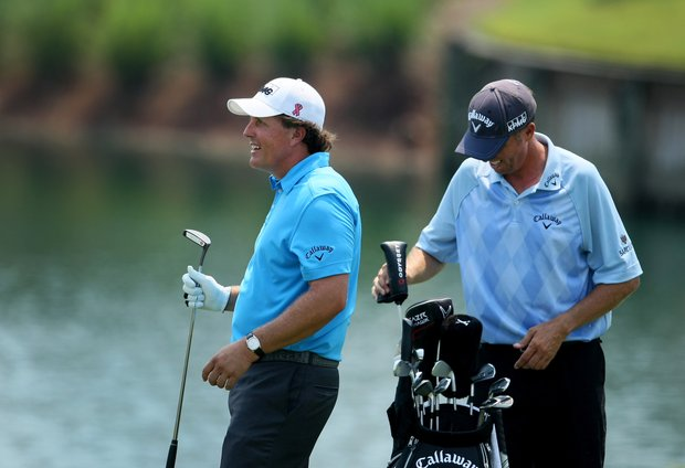 Phil Mickelson during a Tuesday practice round at The Players Championship at TPC Sawgrass.