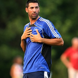 PGA Tour player Alvaro Quiros along with Sergio Garcia and Nathan Green played soccer on Monday night at Davis Park.