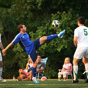 PGA Tour players, including Sergio Garcia, center, played soccer Monday night for the Airmail Rovers FC during The Players Championship week at Davis Park.