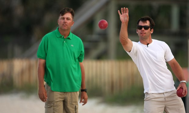 PGA Tour player Bo Van Pelt, left, watches as Paul Casey, right, bowls his Bocce ball while at The Lodge and Club at Ponte Vedra Beach. Pelt and Casey battled it out after Casey defeated Ryuji Imada. For more exclusive videos from the PGA Tour, including Casey, Imada and Van Pelt, check out tourplayers.com, an exclusive partner of Golfweek.